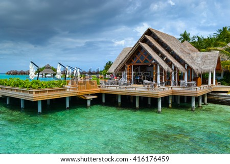 reception in Maldives hotel - stock photo
