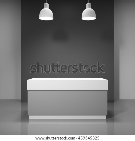 Reception in new office. Blank of corporate style. 3D illustration.