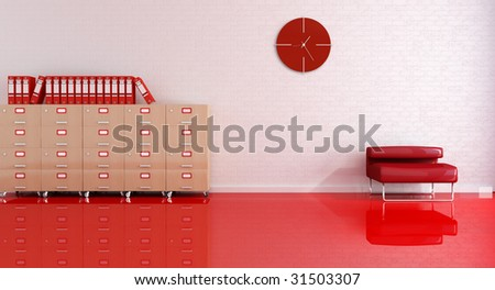 reception office room with red armchair and file drawer-rendering - stock photo