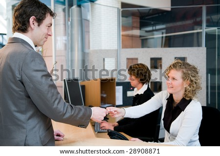 Reception or front desk in an officebuilding