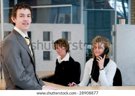 Reception or front desk in an officebuilding - stock photo
