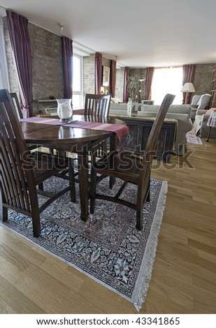 reception room with sitting and dining area - stock photo