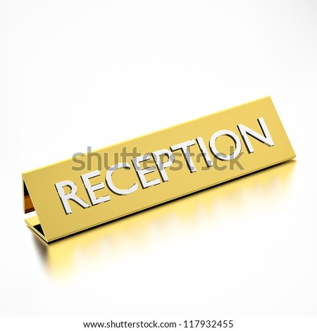 reception tag for information, hotels or service industry. 3d render. - stock photo