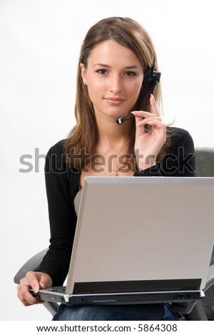 receptionist in call center - stock photo