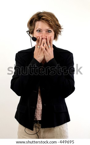 receptionist with hands on mouth