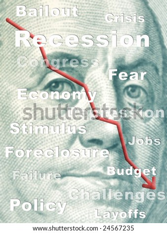 Recession concept on the face of a one hundred dollar bill - stock photo
