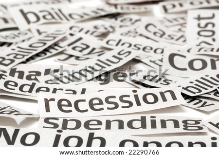 Recession headlines for a bad economy - stock photo