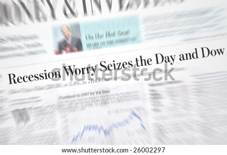 Recession headlines in an investment newspaper - stock photo