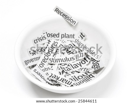 Recession headlines served in a bowl up for breakfast - stock photo
