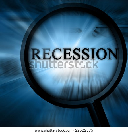 recession on a blue background with a magnifier - stock photo
