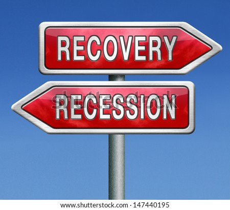 recession or recovery from global financial bank crisis. Stock market crash or growth. Euro or dollar depression and inflation.  - stock photo