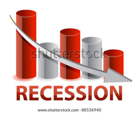 recession red business graph illustration design - stock photo