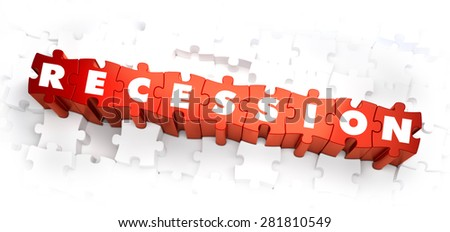 Recession - White Word on Red Puzzles on White Background. 3D Render.  - stock photo