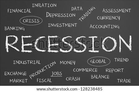 Recession word cloud written on a chalkboard - stock photo