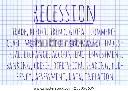 Recession word cloud written on a piece of paper - stock photo