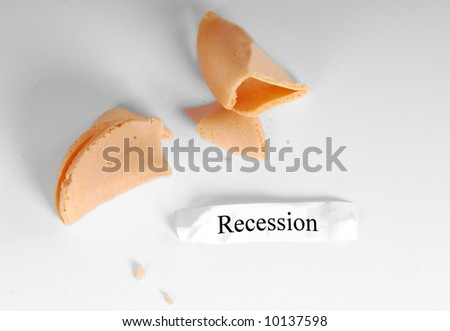 Recession written  on fortune inside chinese cookie - stock photo
