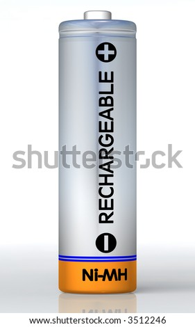 Rechargeable battery on the ground and isolated on white. Clipping path included in JPG! - stock photo
