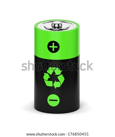 Rechargeable battery with recycle sign isolated on white background - stock photo
