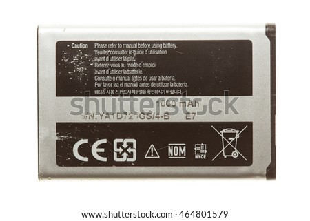 Rechargeable cell phone battery. Isolated on white background