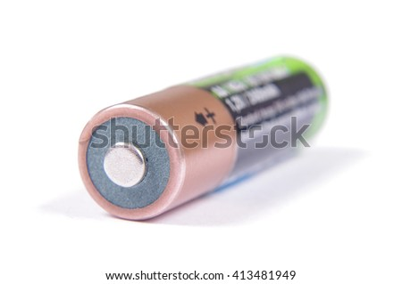 Rechargeable NiMH AA battery isolated on the white background - stock photo