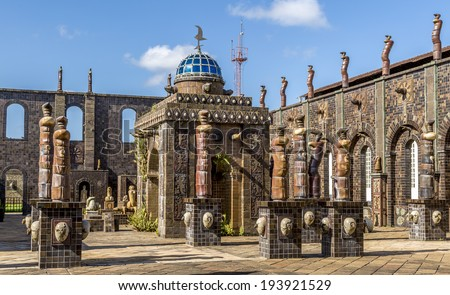 RECIFE, BRAZIL - APRIL 14: Francisco Brennand's ceramic workshop in Recife, PE, Brazil is a landmark and sightseeing of the city. Photo of the main entrance with ceramic sculptures on April 14, 2014. - stock photo
