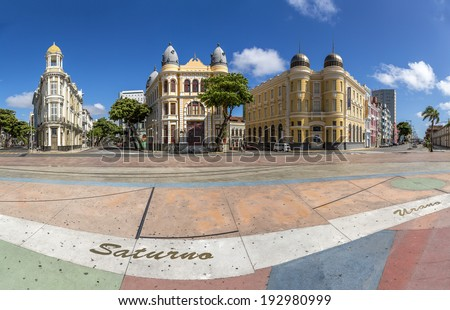 RECIFE, BRAZIL - APRIL 15: Panoramic view of the architecture of Marco Zero Square in Recife, Pernambuco, Brazil where the Carnival Festival takes place on a sunny summer day of April 15, 2014. - stock photo