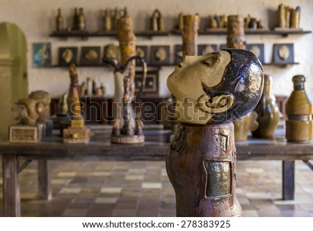 RECIFE, BRAZIL - MAY 10: View of Francisco Brennand Ceramic Workshop in Recife, PE, Brazil showcasing some pieces of his famous ceramic work and the modern architecture of its atelier on May 10, 2015. - stock photo