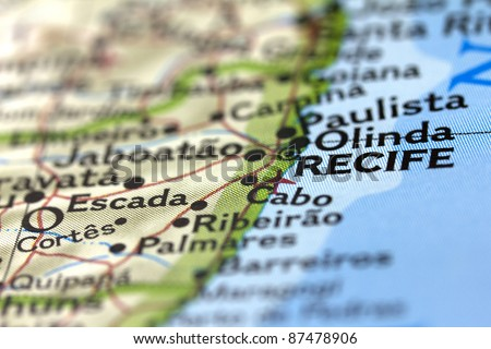 Recife in Brazil on the Map. - stock photo