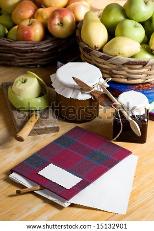 recipe book and apple jam - stock photo