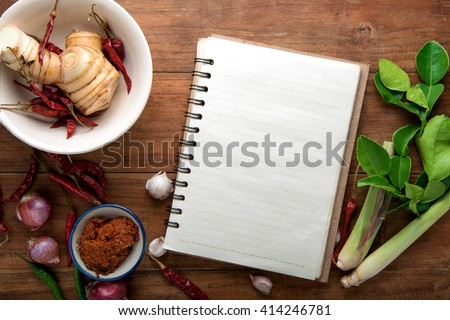 Recipe book fresh herbs south asia stock photo safe to use recipe book with fresh herbs south asia and spices on wooden background thai food forumfinder Choice Image