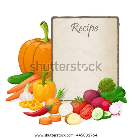 Recipe card kitchen note blank template stock illustration 445031764 recipe card kitchen note blank template illustration cooking notepad on table with and vegetables forumfinder Choice Image