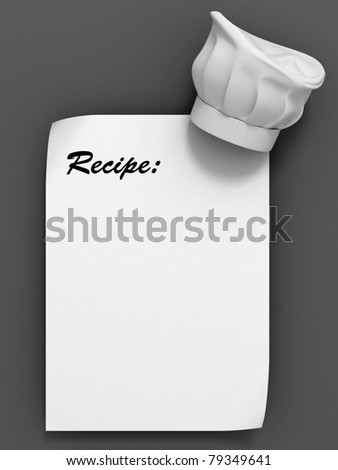 recipe template - chef hat on the blank paper sheet - stock photo
