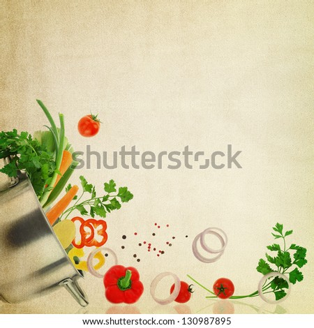 Recipe template. Fresh vegetables on fabric texture - stock photo