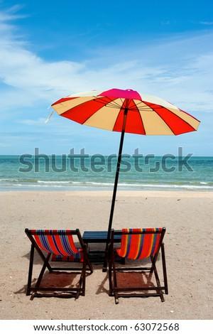 Recline chair on the beach - stock photo