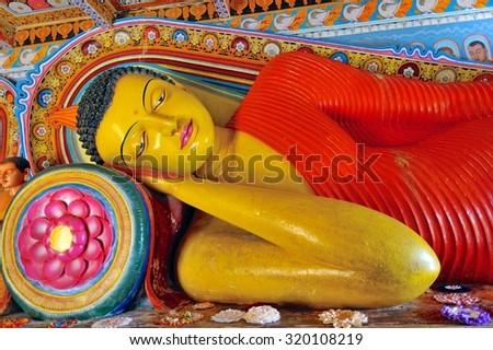 Reclining Buddha at Isurumuniya Temple, Anuradhapura, Sri Lanka - stock photo