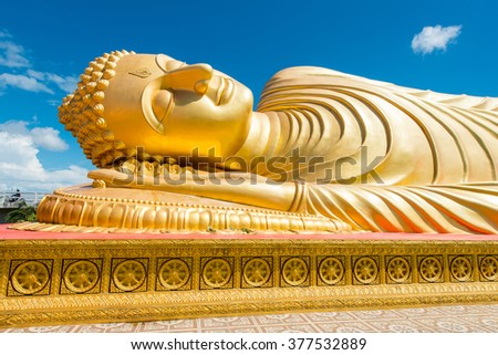 Reclining buddha at Songkhla ,Thailand. Generality in Thailand,This photo is public domain or treasure of Buddhism,no restrict in copy or use. No any trademark or restrict matter in this photo - stock photo