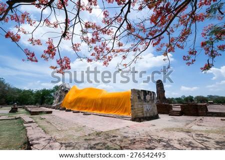 Reclining Buddha of Wat Lokaya Sutha, Ayutthaya, Thailand - stock photo