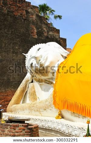 Reclining Buddha of Wat Yai Chai Mongkol in Ayutthaya, Thailand. - stock photo