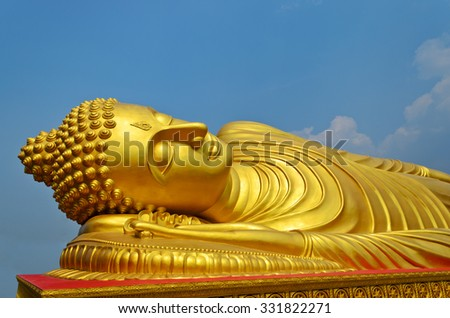 Reclining Golden Buddha at Leam Por Temple Songkhla province,South of Thailand - stock photo