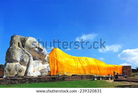 Reclining of buddha, Ancient temple Ayudhaya                                 - stock photo