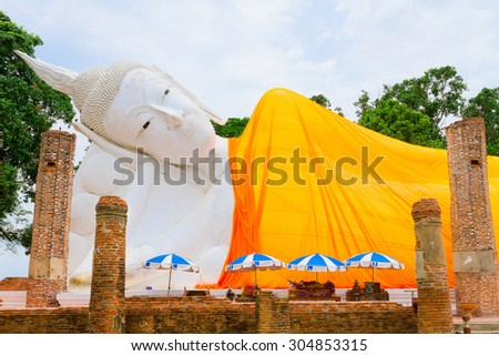 Reclining white buddha in Wat khunin temple, Angthong , Thailand - stock photo