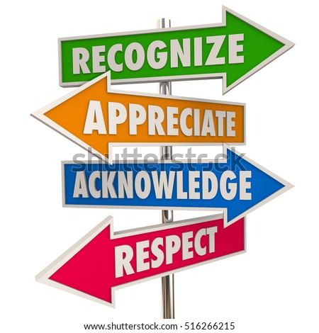 Recognize Appreciation Acknowledge Respect Signs 3d Illustration