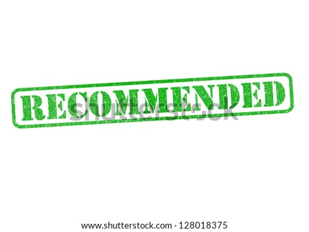 RECOMMENDED green rubber stamp over a white background.