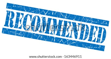 Recommended grunge blue stamp - stock photo