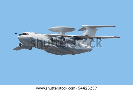 Reconnaissance aircraft, isolated on a blue background
