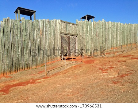 Reconstructed gate in Andersonville National Historic Site in Georgia - stock photo