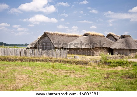 Reconstruction of a Viking Village - stock photo