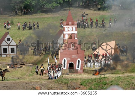 Reconstruction of the battle - stock photo