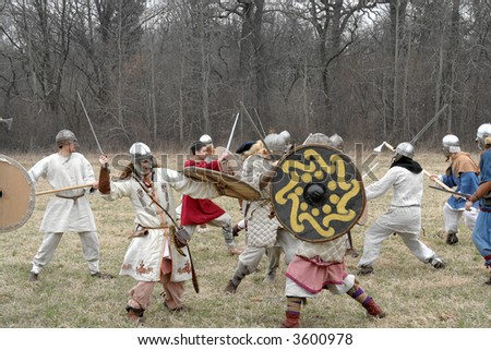 """Reconstruction of the Battle of the old East Prussia warriors, (Russia, Kaliningrad, village """"Vishnevoe"""" now). April, 2007 - stock photo"""