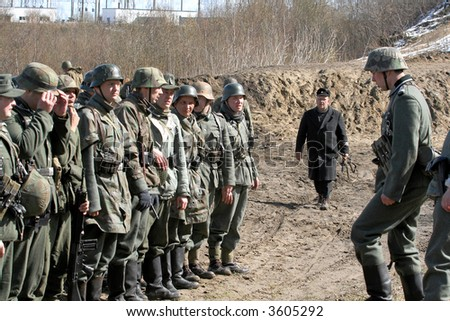 Reconstruction of the Great War (Russian-Germany) battle - stock photo
